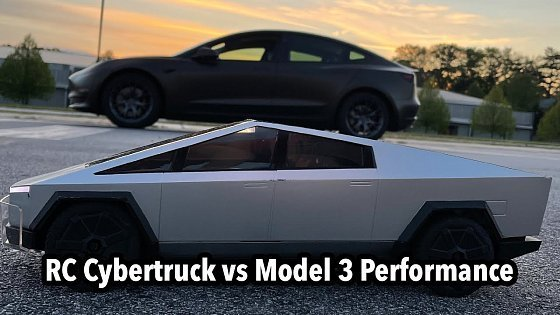 Видео Hot Wheels RC Cybertruck vs Tesla Model 3 Performance, and some autocross in a Mach-E