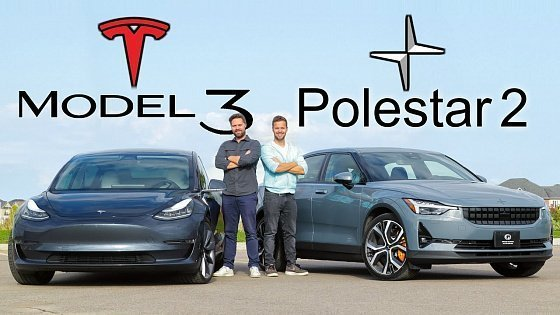 Видео 2021 Polestar 2 vs Tesla Model 3 // A Silent Nemesis Approaches