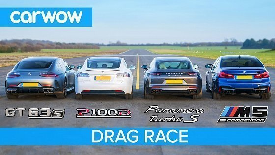 Видео Tesla Model S v AMG GT 4 v BMW M5 v Porsche Panamera Turbo S - DRAG RACE, ROLLING RACE & BRAKE TEST
